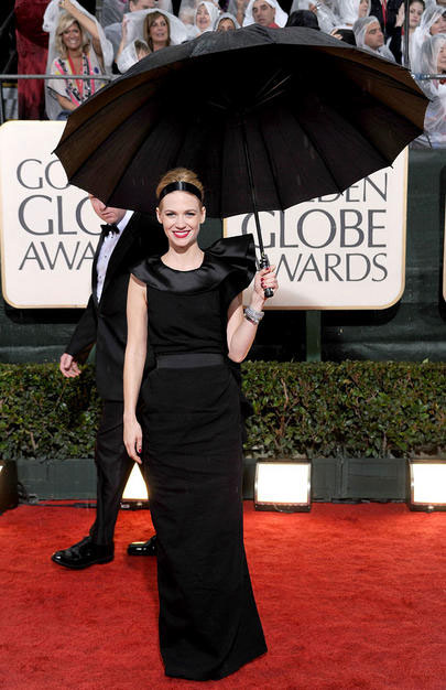 January Jones looked very graceful in a black gown by Lanvin. Mary Poppings would have appreciated this look.